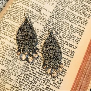 Jewelry - Rustic Silver and Rhinestone Earrings